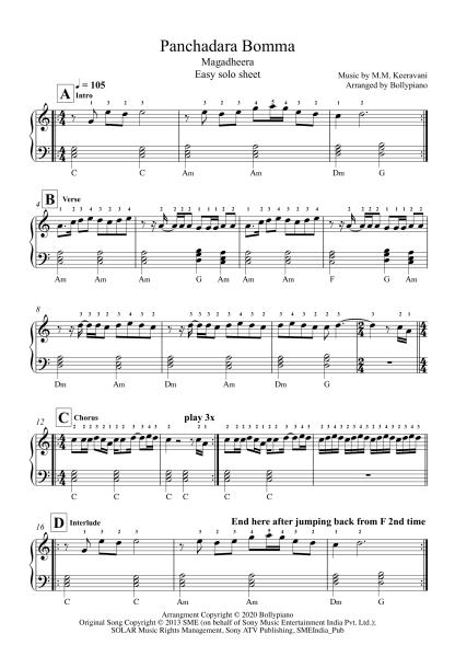 Panchadara Bomma - Magadheera easy piano notes