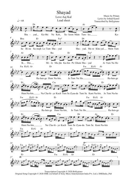 Shayad - Love Aaj Kal flute / violin notes