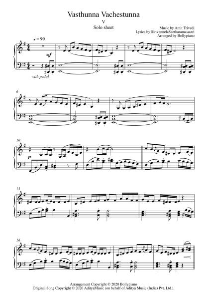 Vasthunna Vachestunna - V piano notes