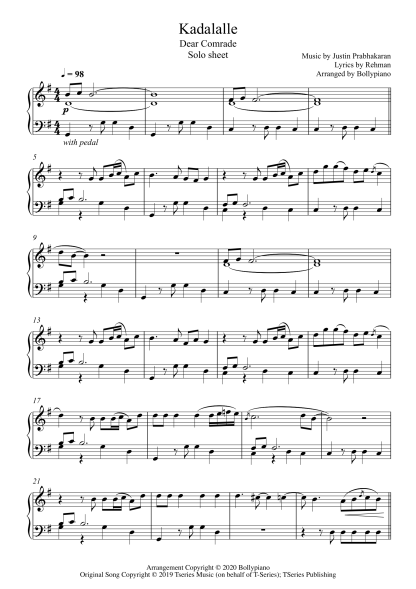 Kadalalle - Dear Comrade piano notes