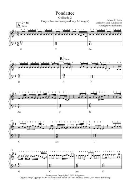 Pondattee - Golisoda 2 easy piano notes