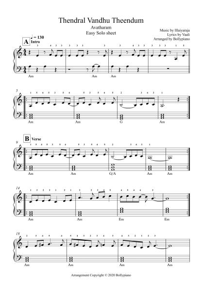 Thendral Vandhu Theendum - Avatharam easy piano notes