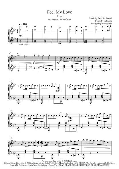 Feel My Love - Arya advanced piano notes