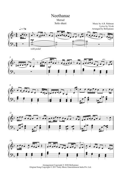 Neethanae - Mersal piano notes