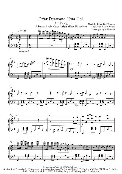 Pyar Deewana Hota Hai - Kati Patang advanced piano notes