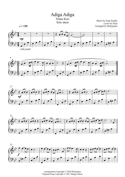 Adiga Adiga - Ninnu Kori piano notes