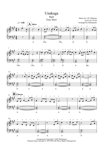 Unakaga - Bigil easy piano notes