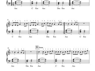 Kanave Kanave - David easy piano notes