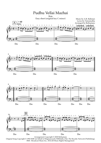 Pudhu Vellai Mazhai - Roja easy piano notes