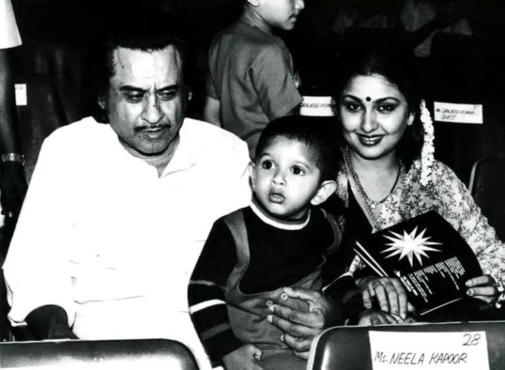 Leena-Chandavarkar-With-Kishore-Kumar-And-Their-Son-Sumeet