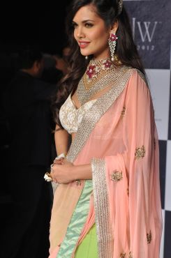 20 Esha Gupta wore Peach Green Lehenga & Emdroidered Dupatta from JASHN at IIJW 2012