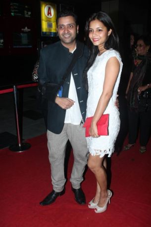 Ash Chandler with wife Junelia Agular at the Red Carpet of 'Love, Wrinkle-Free' premiere at PVR, Phoenix.