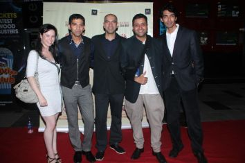 Kristan, Giju John-Kamal Shah (Producers), Ash Chandler & Sandeep John (Director) at the Red Carpet of 'Love, Wrinkle-Free' premiere at PVR, Phoeni