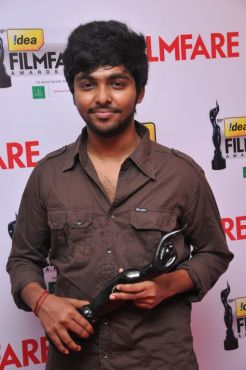 GV Prakash receieved The Best Music Director Award (Tamil) for the movie Aadukalam at the '59th !dea Filmfare Awards 2011' (South) on 8th July at J