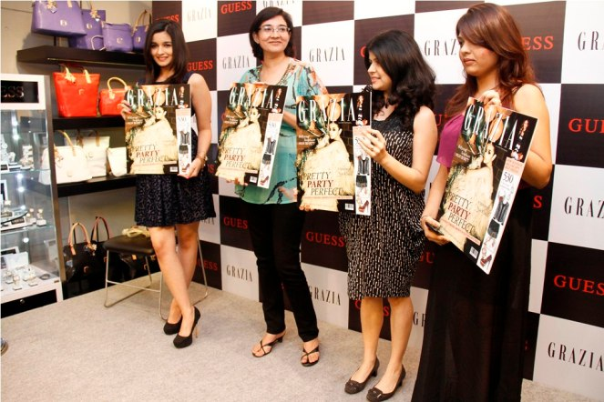 Alia Bhatt, Ms. Anupama Bhalla (Brand Publisher, Grazia) & Mehernaaz Dhondy (Editor, Grazia) Launching the Grazia cover at Guess..