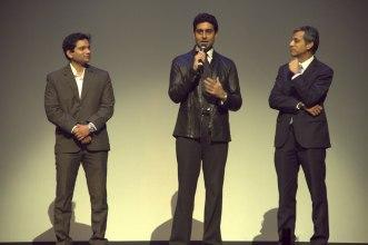 Girish Karkera (Editor, TopGear Magazine), Abhishek Bachchan, Mr. Tarun Rai (CEO, WorldWide Media) at 'The TopGear India Magazine Awards 2012'.