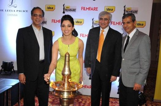 Tamanna & Mr. Tarun Rai annaugrating the '60th Idea Filmfare Awards 2012' (South)..