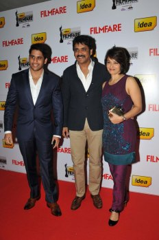 Naga Chaitanya, Nagarjuna and Amala on the Red Carpet of '60the Idea Filmfare Awards 2012(South).