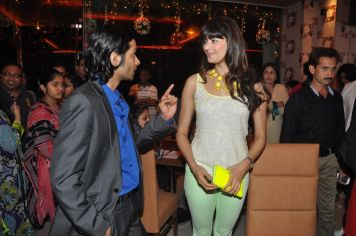 Pooja Batra in a converstaion with Roman Sen at the launch of Yoko Sizzlers