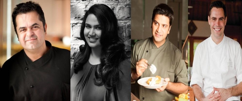 Chefs (L-R) Vicky Ratnani, Pooja Dhingra, Kunal Kapur, Alex Gares