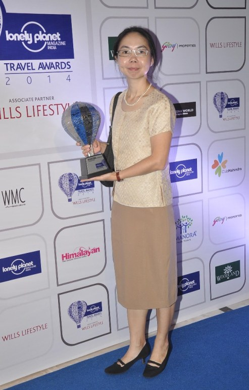 Winners with the Trophy at the Blue carpet of 'The Lonely Planet Magazine India Travel Awards 2014'.5