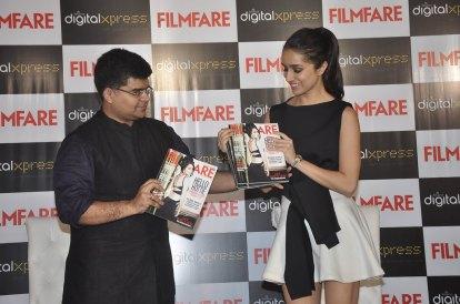 Jitesh Pillaai (Editor, Filmfare) & Shraddha Kapoor at the Filmfare Magazine cover launch at Reliance Digital, Prabhadevi.3