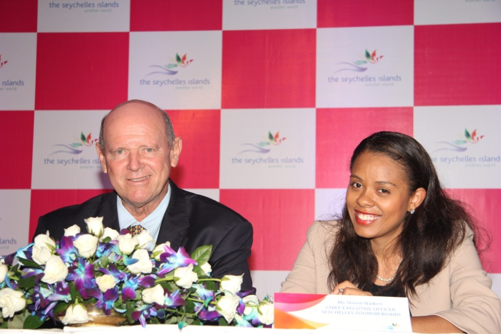 Mr. Alain St. Ange, Seychelles Minister of Tourism and Culture and Ms. Sherin Naiken, CEO, Seychelles Tourism Board at the press meet by Seychelles