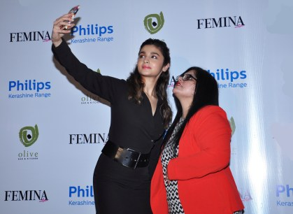 Alia Bhatt & Tanya Chaitanya (Editor, Femina) while selfie moment at the launch of Femina's 55th Anniversary issue at Guppy by Olive.