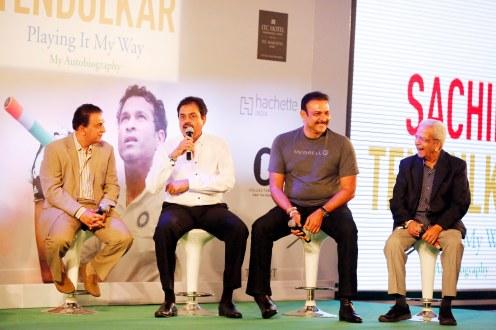 L-R ( Sunil Gavaskar, Dilip Vengsarkar, Ravi Shastri, Vasu Paranjpe)