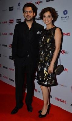 Sahil Sangha & Diya Mirza at the Red Carpet of '60th Britannia Filmfare Awards 2014' Pr Awards Party at Hyatt Regency.