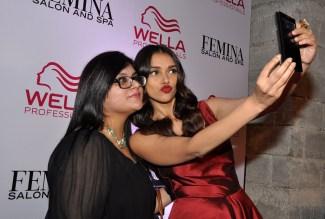 Selfie Aditi Rao Hydari with Tanya Chaitanya (Editor, Femina) at The White Owl Lounge post launch.