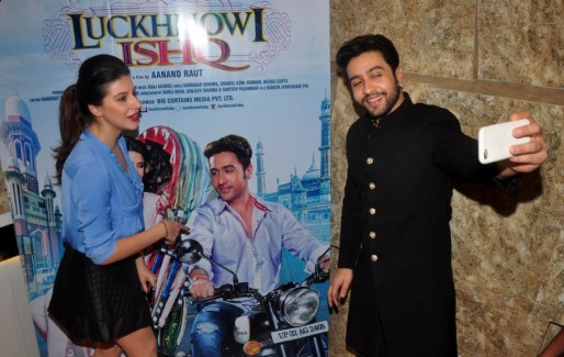 Selfie mode of Karishma Kotak & Adhyayan Suman at the First Look & Music Launch of film Luckhnowi Ishq.