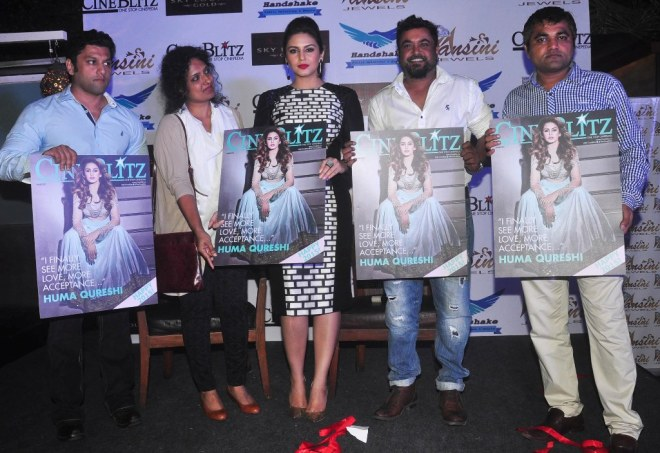 Sponsors & Editors with Huma Qureshi while launching the CineBlitz Magazine cover at SheeShsa Sky Lounge, Juhu.2