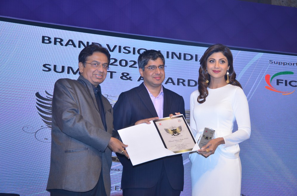 Entrepreneur Shilpa Shetty being felicitated at NEXBRANDS Event.