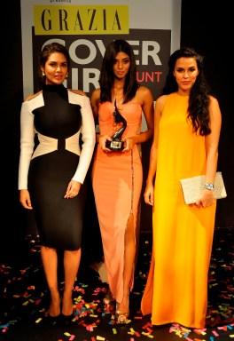 Grazia Cover Girl Hunt Winner Ashwati Ramesh with Esha Gupta & Neha Dhupia at the Grazia Cover Girl Hunt Finale