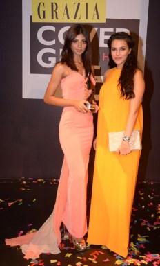 Grazia Cover Girl Hunt Winner Ashwati Ramesh with Neha Dhupia at the Grazia Cover Girl Hunt Finale