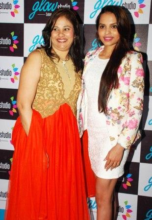 Ms. Mallerine Kukian (Director) with Femina Miss India - Gail Nicole Da Silva post inauguration of 'Glow Studio Salon & Spa' in Thane