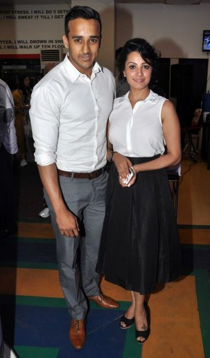 Anita Hasnandani with Husband at Leena Mogre's Debut Book Launch 'Total Fitness' at her gym in Bandra.