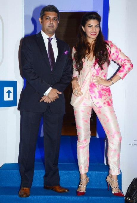 Deepak Lamba (CEO, WWM) & Jacqueline Fernandez at the 'Lonely Planet Travel Awards 2015' at JW Marriot Sahar