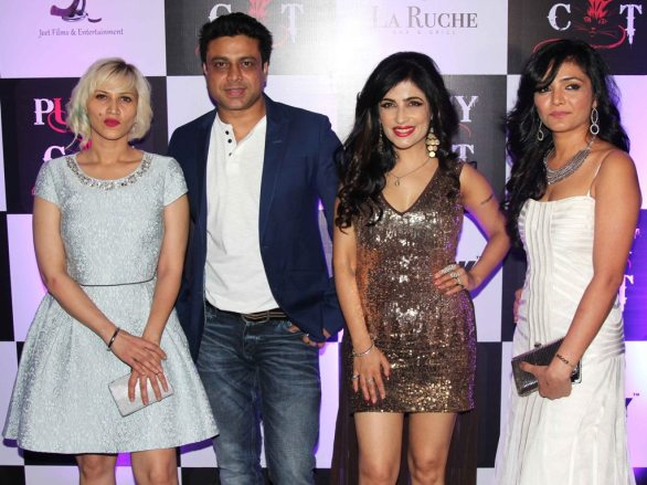 Producer Jai Singh (Jeet Films & Ents) with wife, Shibani Kashyap (Singer) & Shreeya (featuring in video) at the launch party of their latest Music Video 'PUSSY CAT' at La Ruche, Bandra.