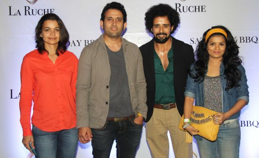 Actor Anil Mange (of Singh is Bling) with friends at the Six Months Completion Celebration of La Ruche, Bandra