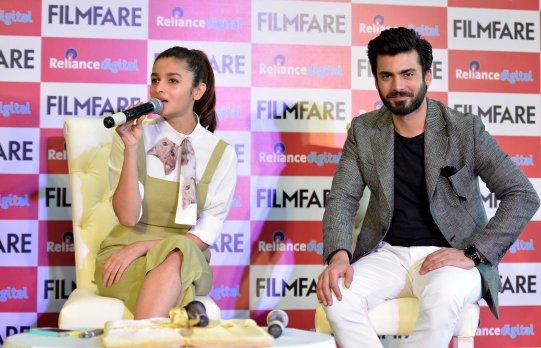 Alia Bhatt & Fawad Khan at the Filmfare Magazine Cover page launch held at Reliance Digital, Juhu.4