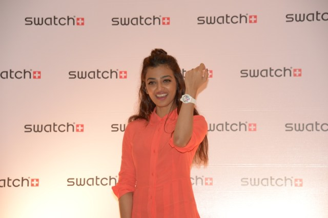 Radhika Apte flaunting her Swatch watch at the opening of the brand's first Corporate store in Mumbai