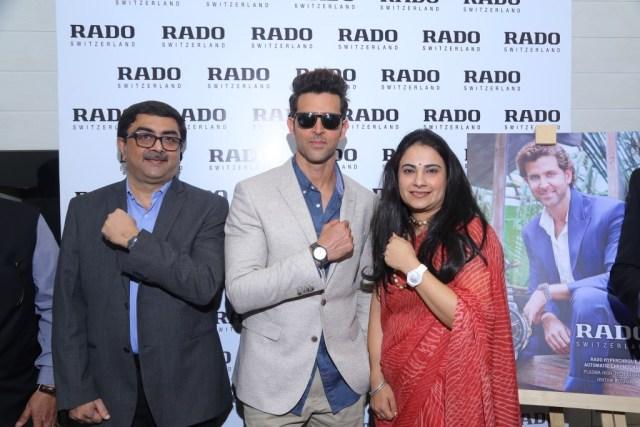 L-R Partha Dattagupta, Country Manager, Swatch Group - Hrithik Roshan Brand Ambassador, rado - Simran Brand Manager, Rado