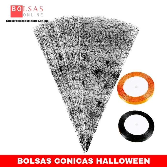 3a60581cc 100 Piezas de Bolsa de Cono de Halloween Bolsa de Dulces de Celofán ...