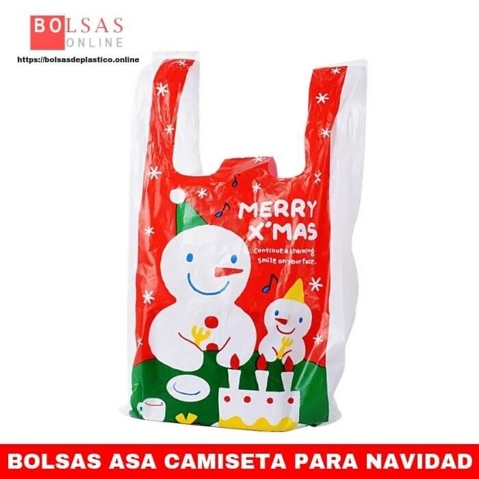 c16dc6a55 100pcs Bolsas de Plastico Camiseta con Asa 18 x 35 cm Bolsas Compra Dulces  Galletas Chuches Regalos Navidad. - ✓ Bolsas Online