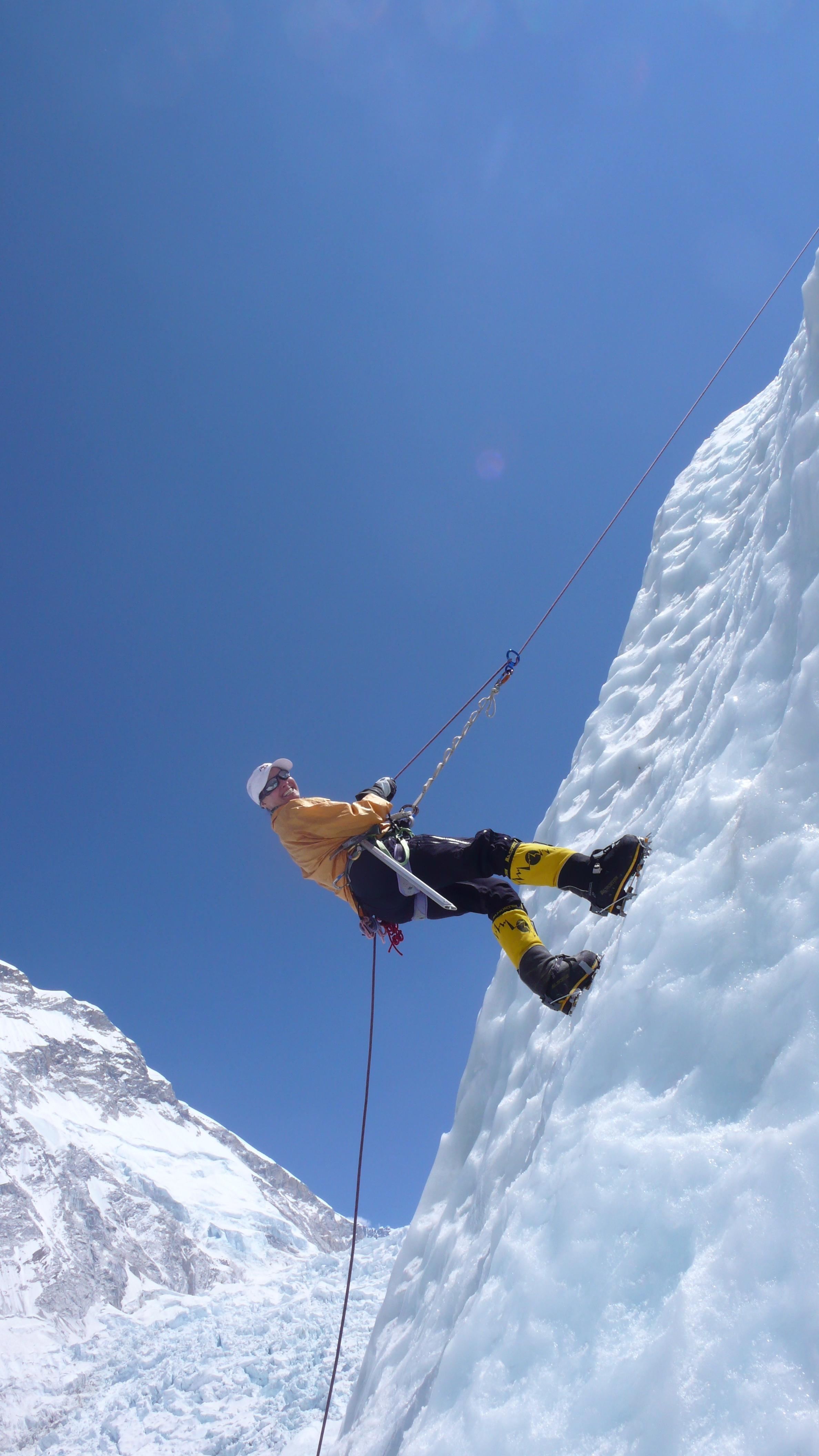 lori-schneider-climbing-icy-wall-on-everest