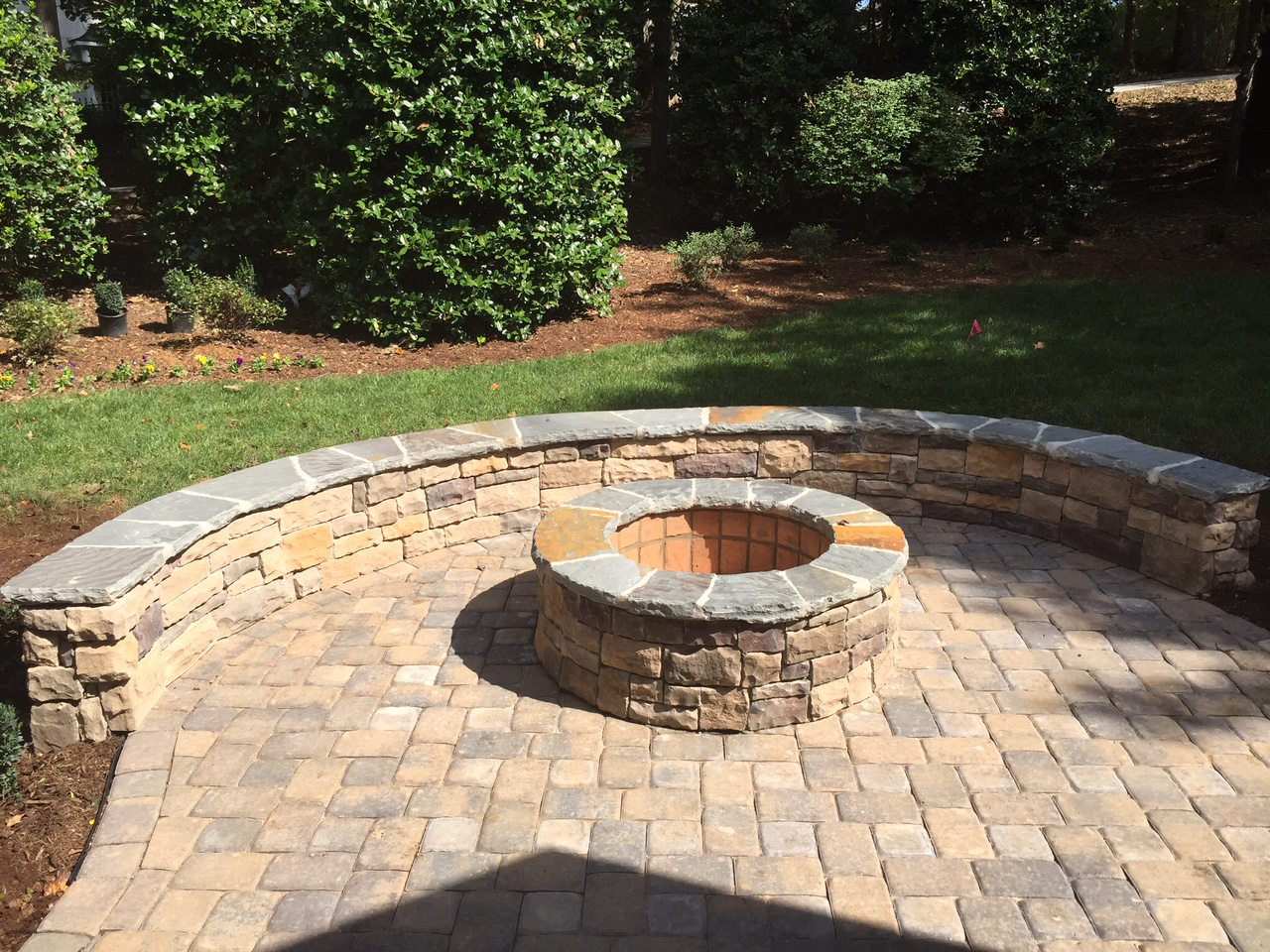 Charlotte outdoor fire pits, Charlotte outdoor fireplace ... on Paver Patio Designs With Fire Pit id=71680