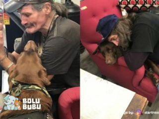 pria bertemu kembali dengan anjingnya yang hilang