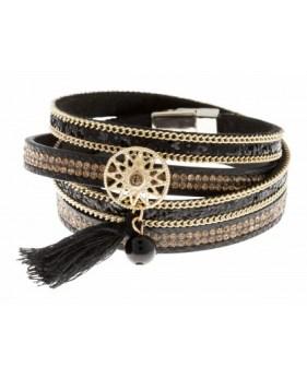 Bracelet multi rangs noir Lollipops